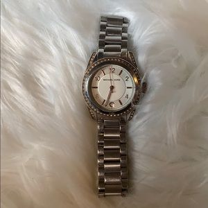 Michael Kors Silver Link Watch Rose Gold Accents
